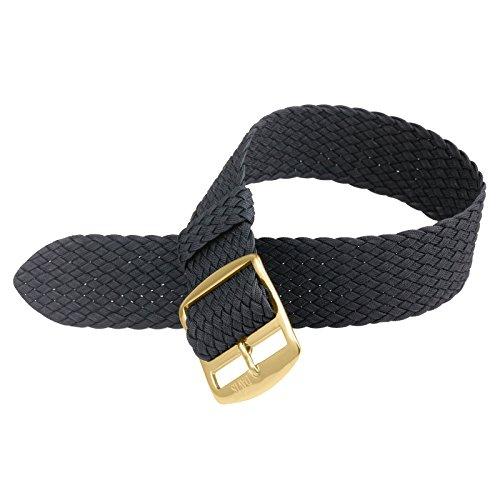 Davis B0310G Armband Uhr Perlon Nylon Schwarz 20mm Gold Schliesse Hochwertige Qualitaet
