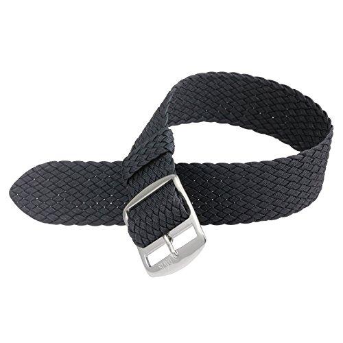 Davis B0310S Armband Uhr Perlon Nylon Schwarz 20mm Stahl Schliesse Hochwertige Qualitaet