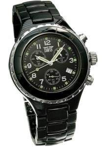 Davis Keramik Damen Uhr Chronograph Wasserdicht und Keramik Armband Box, Schwarz