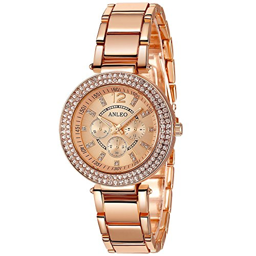 anleowatch 1 2015 New Roman numral Uhren Metall Quarz Uhr Rose Gold Armbanduhr fuer Damen