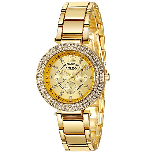 anleowatch 1 2015 New Roman numral Uhren Metall Quarz Uhr gold Armbanduhr fuer Damen