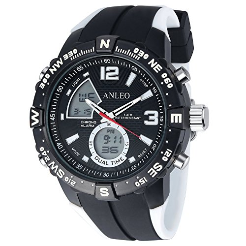 anleowatch 1 weiss Armbanduhr Sport Quarz Japan Bewegung Herren Military Digital Display Armbanduhr