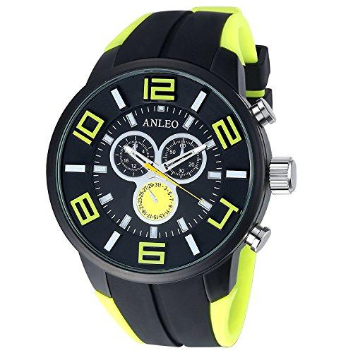 anleowatch 1 gelb Armbanduhr Casual Herren Military Uhren Sport Armbanduhr