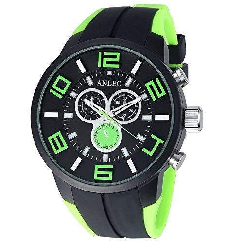 anleowatch 1 gruen Armbanduhr Sport Quarz Japan Bewegung Herren Military Armbanduhr