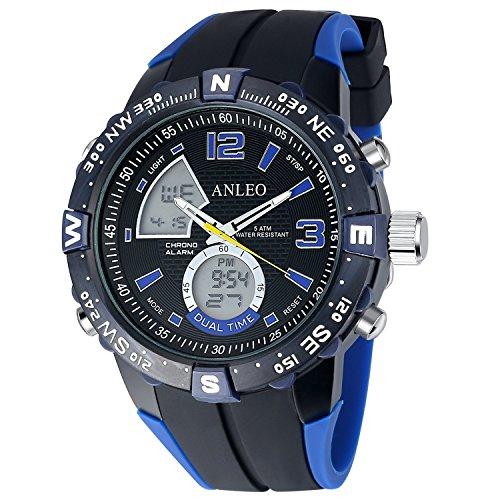 anleowatch 1 blau Armbanduhr relogio Masculino Herren Sport Armbanduhr Analog Digital Display 5 ATM wasserdicht Japan Quarz Military Uhren
