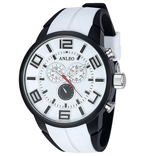anleowatch 1 weiss Armbanduhr Luxus Herren Militaer Sport Uhren wasserdicht en