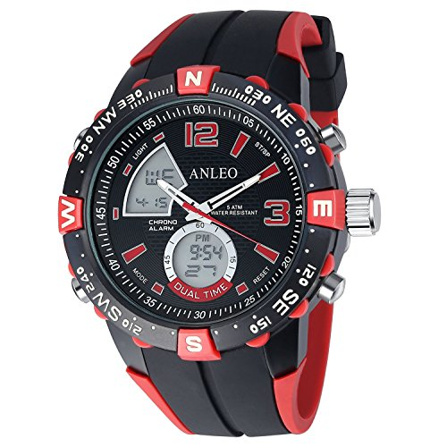 anleowatch 1 Armbanduhr Sport Uhren Herren Military Uhren Digital Quarz Herren LED Uhr 1088 red