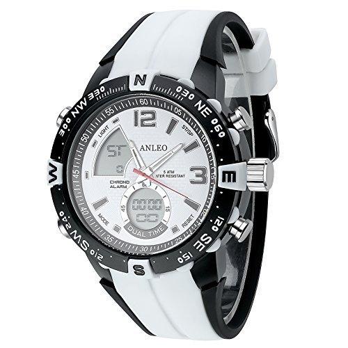 anleowatch 1 weiss Armbanduhr Outdoor Sports Militaer Uhren Digital Quarz Herren LED Uhr