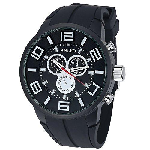 anleowatch 1 Black Watch Herren Damen Unisex Militaer Sport Uhren wasserdicht en