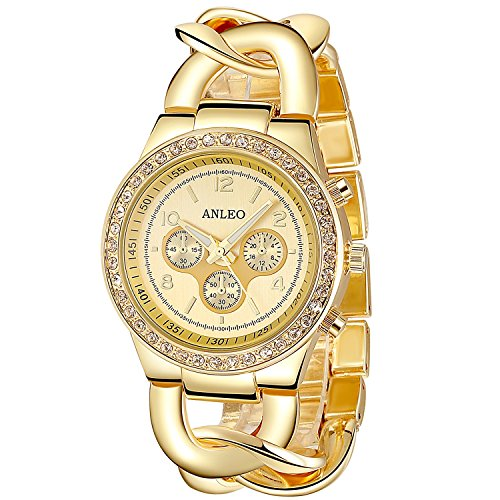 anleowatch 1 Chronograph Quarz Frauen Kleid Uhren Armbanduhr Diamant Gold