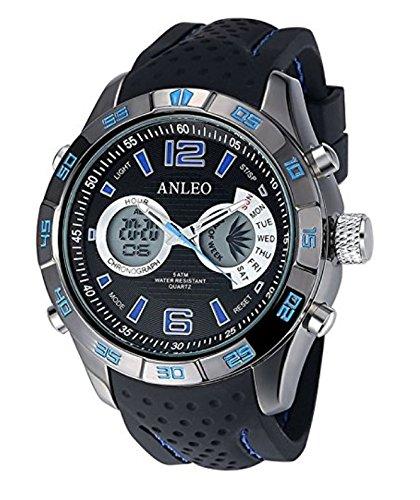 anleowatch 1 rot Luxus Chronoraph Kalender Armbanduhr Herren Militaer Sport Uhren Digital LED en