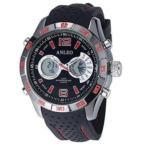 anleowatch 1 LUXUS Chronoraph Kalender Armbanduhr Herren Militaer Sport Uhren Digital LED en