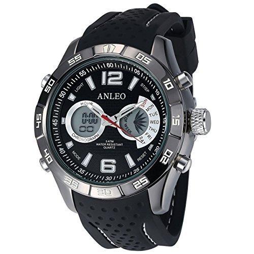 anleowatch 1 Chronoraph Kalender Armbanduhr Herren Militaer Sport Uhren Digital