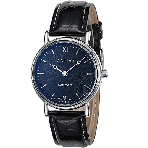anleowatch 1 Frauen Kleid Uhren Edelstahl Rueckseite Leder Gurt Sport 3 ATM Wasserdicht 6084 black