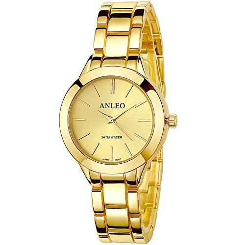 anleowatch 1 Frauen Pure Color Kleid Uhren Edelstahl Rueckseite Metall Gurt Sport Armbanduhr 6085 gold