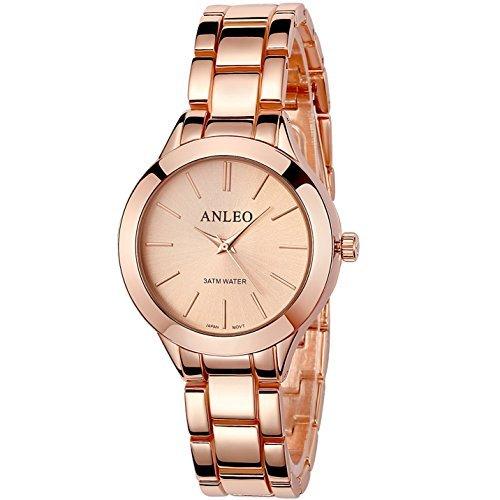 anleowatch 1 Frauen Pure Color Kleid Uhren Edelstahl Rueckseite Metall Gurt Sport Armbanduhr 6085 rose Gold