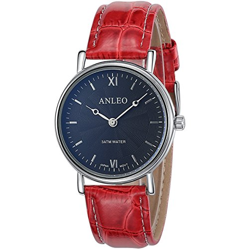 anleowatch 1 Frauen Kleid Uhren Edelstahl Rueckseite Leder Gurt Sport 3 ATM Wasserdicht 6084 red