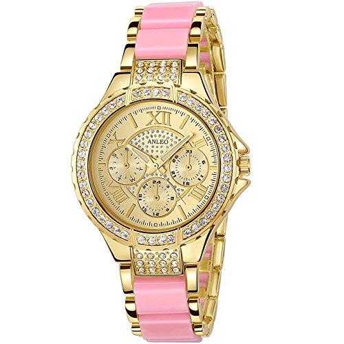 anleowatch 1 Frauen Kleid Uhren Edelstahl Rueckseite mit Schmucksteinen Metall Gurt Armbanduhr 5590 pink