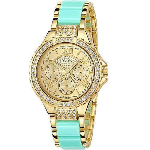 anleowatch 1 Frauen Kleid Uhren Edelstahl Rueckseite mit Schmucksteinen Metall Gurt Armbanduhr 5590 mint gruen