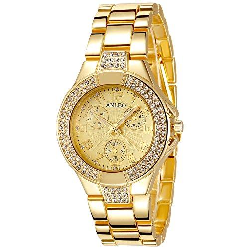 anleowatch 1 Frauen Armbanduhr Gold Metall Stahl Gurt Dial Analog Quarz Uhren LADY Armbanduhr Uhren