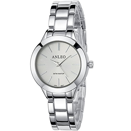 anleowatch 1 Frauen Pure Color Kleid Uhren Metall Gurt Sport Armbanduhr 6085