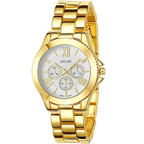 anleowatch 1 Frauen Kleid Uhren Edelstahl zurueck Metall Gurt Sport 6081 gold