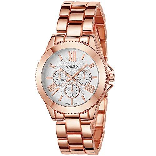 anleowatch 1 Frauen Kleid Uhren Edelstahl zurueck Metall Gurt Sport 6081 rose Gold