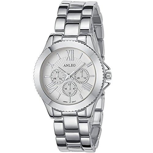 anleowatch 1 Frauen Kleid Uhren Edelstahl zurueck Metall Gurt Sport 6081 silver