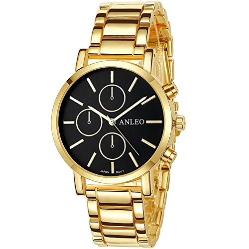 anleowatch 1 Frauen Kleid Uhren Edelstahl zurueck Metall Gurt Armbanduhr 6082 gold schwarz