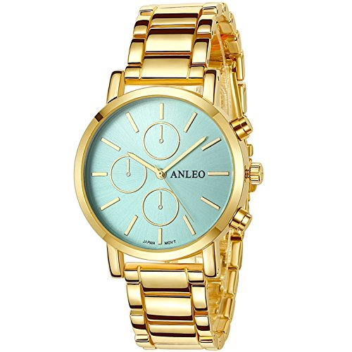 anleowatch 1 Frauen Kleid Uhren Edelstahl zurueck Metall Gurt Armbanduhr 6082 gold Blau