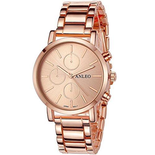 anleowatch 1 Frauen Kleid Uhren Edelstahl zurueck Metall Gurt Armbanduhr 6082 rose Gold