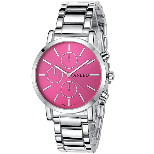 anleowatch 1 Frauen Kleid Uhren Edelstahl zurueck Metall Gurt Armbanduhr 6082 silver Rot
