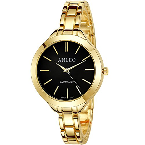anleowatch 1 Frauen Kleid Uhren Edelstahl zurueck Metall Gurt Fashion Quarz 6083 gold schwarz