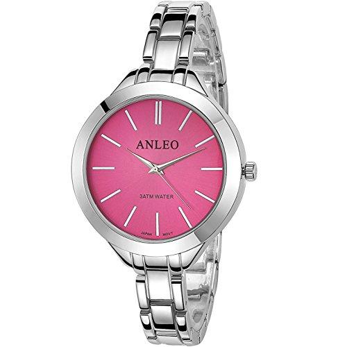 anleowatch 1 Frauen Kleid Uhren Edelstahl zurueck Metall Gurt Fashion Quarz 6083 silver Rot