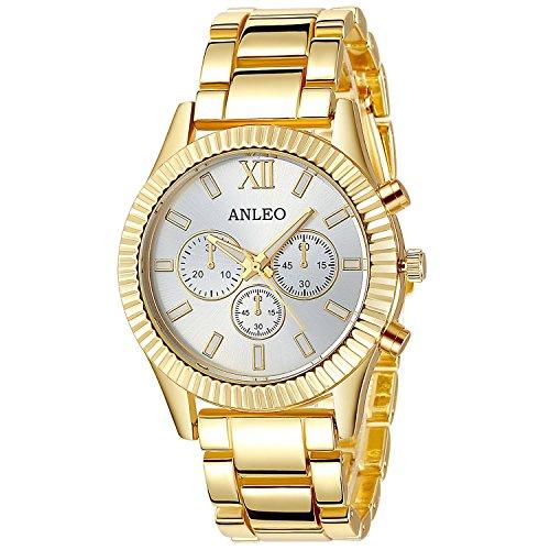 anleowatch 1 Frauen Kleid stahl gold Uhren Metall Quarz Sport Armbanduhr