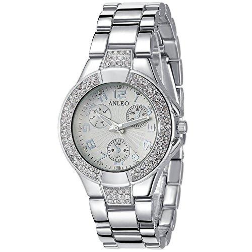 anleowatch 1 Strass Metall Stahl Quarz Uhren LADY Armbanduhr Silber