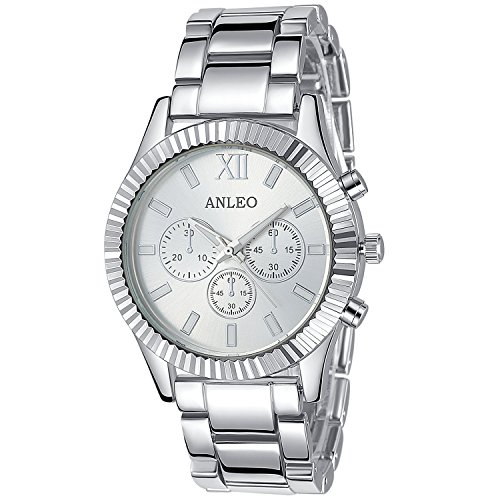 anleowatch 1 LUXUS New Style Fashion Metall Sport Frauen Silber Analog Uhren Lady Quarz Wasserdicht Armbanduhr