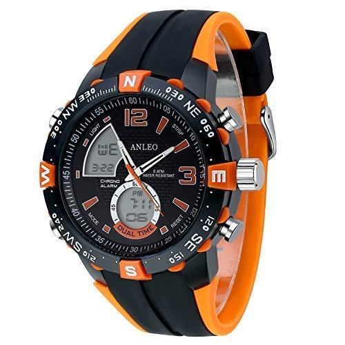 anleowatch 1 orange Armbanduhr Outdoor Sports Militaer Uhren Digital Quarz Herren LED Uhr