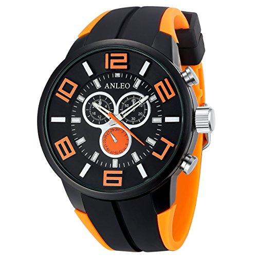 anleowatch 1 orange Armbanduhr 3 ATM Wasserdicht Herren Sport Armbanduhr Rubber Strap