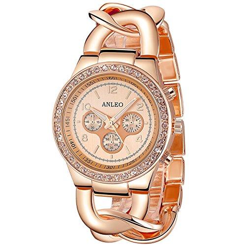 anleowatch 1 Quarz Uhren Full Stahl Frauen Kleid mit Armbanduhren Rose Gold