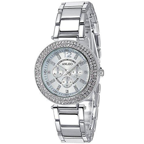 anleowatch 1 roemischen numral Metall Quarz Uhr Silber Armbanduhr