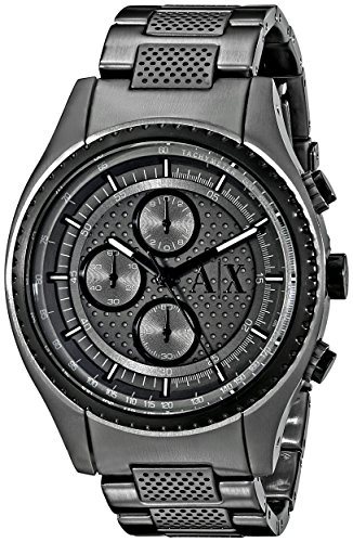 Armani Exchange ax1606 45 mm Edelstahl Fall Schwarz Metall Mineral