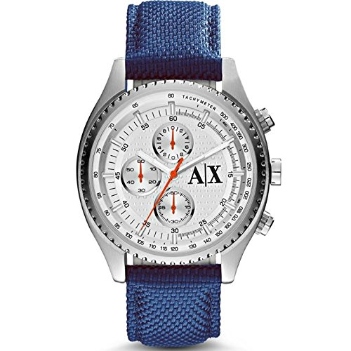 Armani Exchange Herren 45mm Chronograph Blau Nylon Armband Datum Uhr AX1609