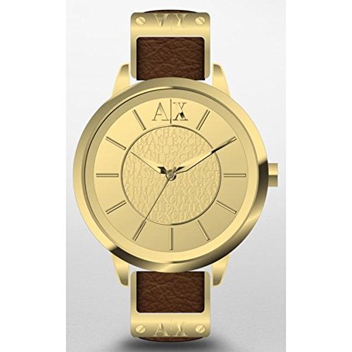 Armani Exchange Damen Armbanduhr Armband Leder Multicolor Gehaeuse Goldfarbenes Edelstahl Quarz AX5310