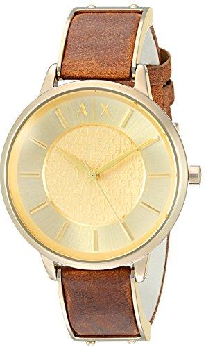 Armani Exchange Damen Armbanduhr 38mm Armband Leder Braun Gehaeuse Edelstahl Quarz Zifferblatt Gold AX5314