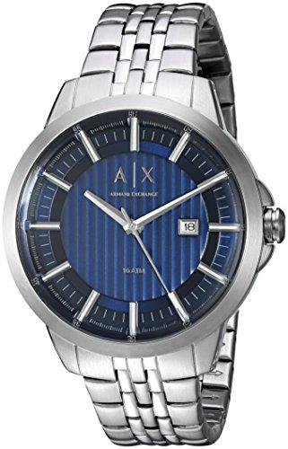 Armani Exchange Herren Armbanduhr Armband Edelstahl Gehaeuse Quarz Zifferblatt Blau Analog AX2261