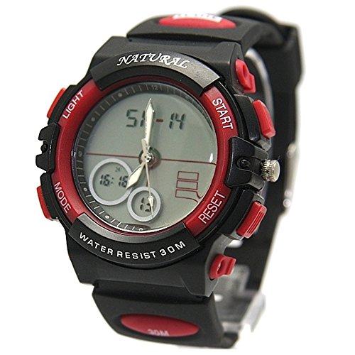 10 aw356 a Datum Alarm Hintergrundbeleuchtung rot Luenette Wasser widerstehen Boy Girl Signature Analog Digital Armbanduhr