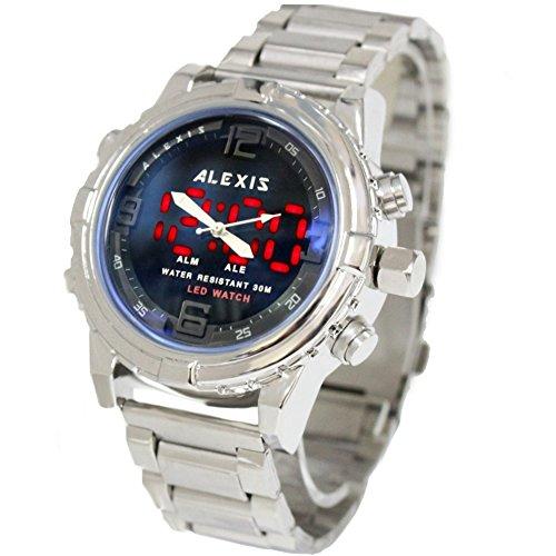 10 aw801 K PNP glaenzend Silber Watchcase LED Hintergrundbeleuchtung Wasser widerstehen Herren anadigit PREMIER Armbanduhr