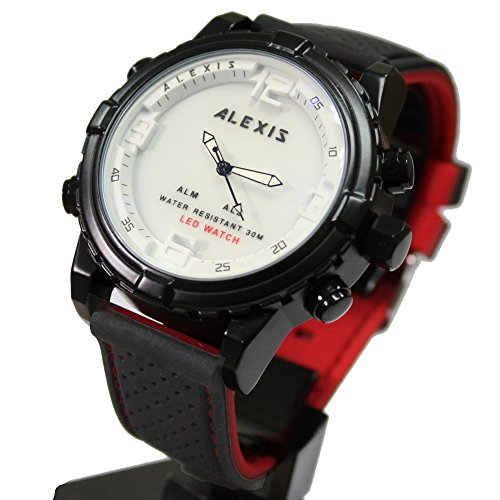10 aw801 F Wasser widerstehen Silikon Schwarz Band Boy Girl Dual Time Alexis anadigit Armbanduhr