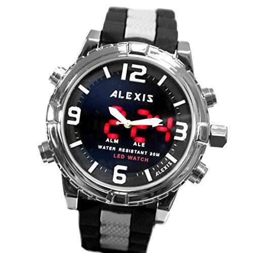 10 aw801 C Wasser widerstehen Silikon Schwarz Band Unisex Dual Time Alexis Analog